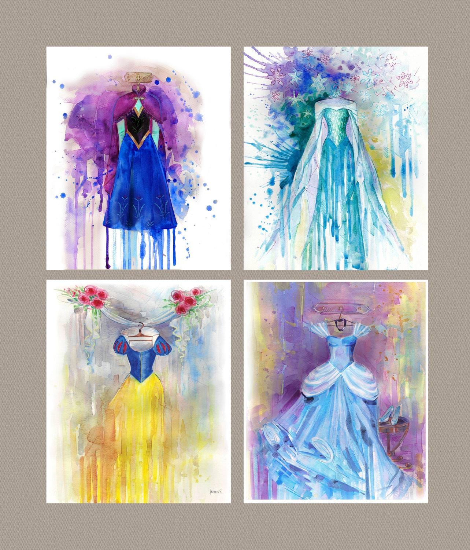 Disney Paint Colors And Ideas: Disney Art Watercolor Painting Print Disney Frozen Elsa