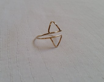 Double Triangle Wrap Ring | Triangle Ring | Gold Triangle Ring | Silver Triangle Ring | Double Triangle Ring | Wrap Ring | Geometric Ring