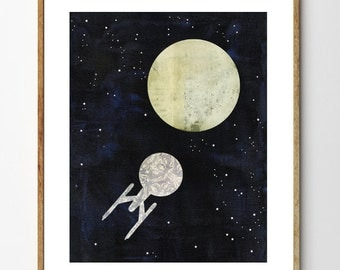 Starship - Space Art Print, Space Ship Art, Moon Art, Sci Fi Art, Moon and Stars, Outer Space, Celestial Art, Mixed Media, Planet Art