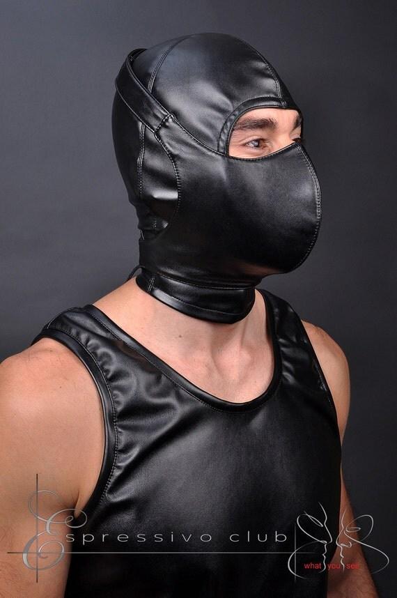 Leather masked bondage fetish