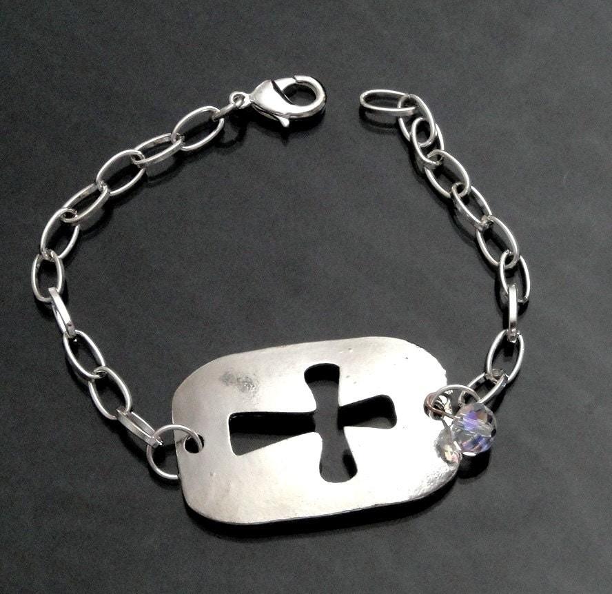 silver cross bracelet cross cut out sideway by bijijewelry