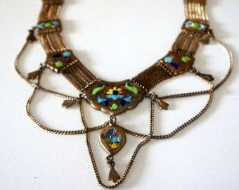 Vintage Tribal Enamel Ethnic Statement Necklace ~