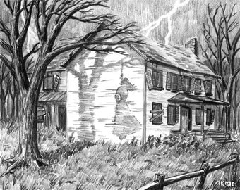 "Haunted House, Halloween Horror ""The Hanging House"" (8x10 inch Digital Print on 8.5x11 cardstock, unframed) art print by Colin Richards"