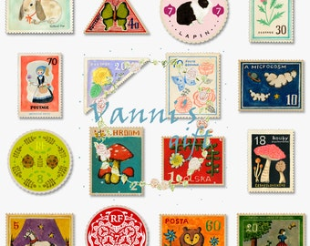 17 Vintage Stamp Digital Download Scrapbooking Clip Art a49