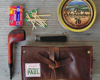 Brown Pipe Pouch with Tobacco Pocket - Leather