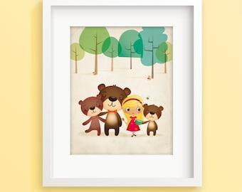 Goldilocks and the three bears, nursery illustration, kids illustration, kids room decor, Goldilocks print, nursery art, baby girl gift