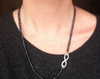 Formal Black Glass Beaded Hematite Unique Asymmetrical Infinity Necklace