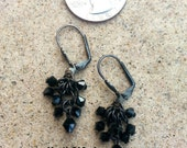 Jet Black Crystal Micro Chainmaille Earring, Rustic Earrings, Swarovski, Chain Mail, Chainmail Bead Earrings, Micro Chainmaille Earring,