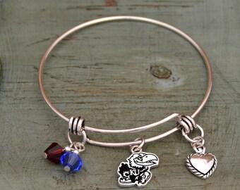 Kansas Jayhawks Memory Wire Bracelet