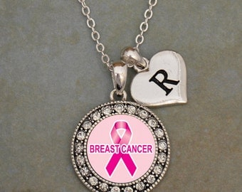 Custom Initial Breast Cancer Awareness Necklace