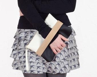"""Clutch bag """"CarryMe"""", black and white clutch, vegan leather clutch, black clutch, black purse, clutch purse, crossbody purse, vegan clutch"""