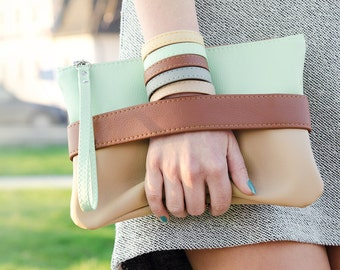 Clutch bag Mint clutch Vegan leather clutch Boho clutch Mint purse Tan clutch Vegan clutch Mint wristlet Faux leather clutch Tan boho clutch