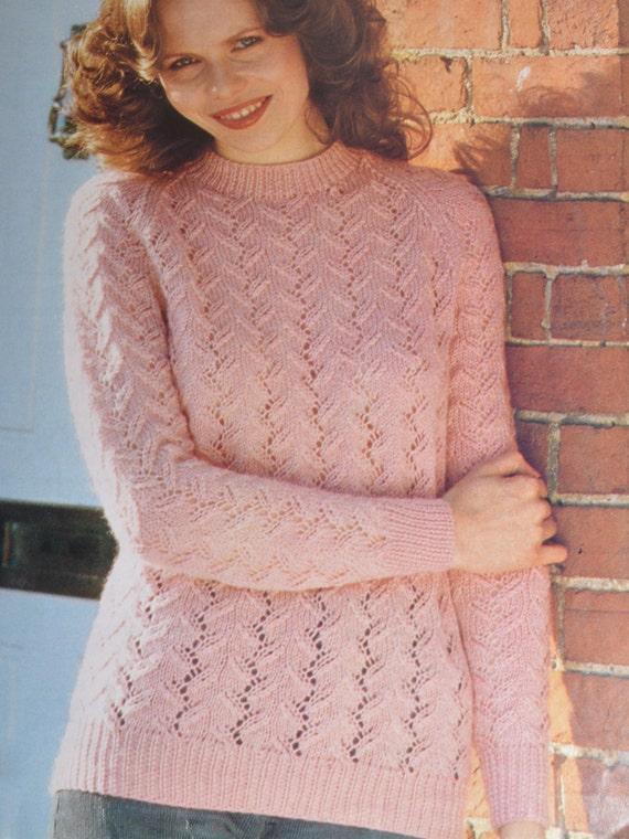 Round Neck Sweater Knitting Pattern : PDF lacy round neck sweater jumper vintage knitting pattern