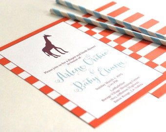 Mod Giraffe Baby Shower Invitations modern orange stripes-FREE SHIPPING or DIY printable