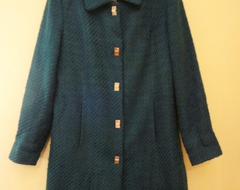 SALE Lightweight Women's Coat: Wool Blend in Sapphire Blue