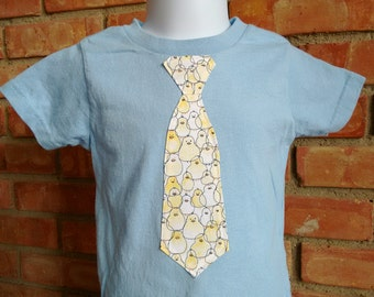 Boys Chick Tie Shirt, boy easter chick shirt, Boys easter outfit, boys easter shirt, easter chick shirt, boy birthday gift, boy easter gift