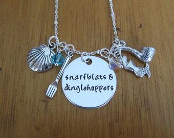 Little Mermaid Necklace Ariel Inspired. Snarfblats & Dinglehoppers. Little Mermaid jewelry. Scuttle necklace.