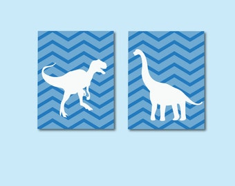 Boys Nursery Print, Dinosaur Kids Art Print, Boys Girls Chevron Print 635