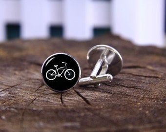 Vintage Bike Cufflinks, Custom Date & Name Cufflinks, Tie Clip, Custom Wedding Cuff Links, Bicycle Bike Cufflinks, Personalized Cufflinks