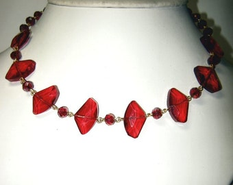 Vintage Red Glass & Plastic Beaded Necklace