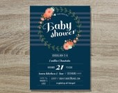 Navy Floral Baby Shower Custom Printable Invitation // 5x7 Boy or Girl Navy Coral Floral Whimsical Invite - Floral Wreath Baby Shower