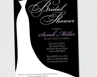 Wedding Dress Bridal Shower Invitation {Digital File} Printable | Elegant Shower Invite Wedding Shower Invite White Dress