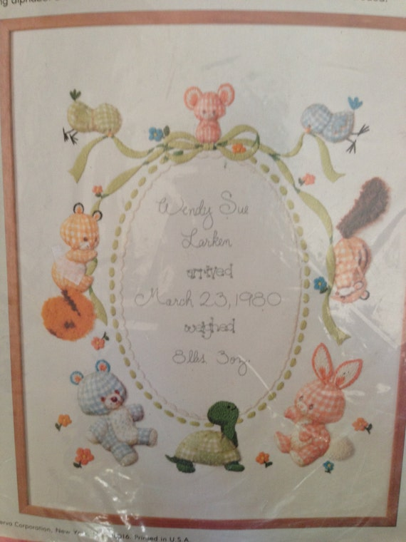 Vintage calico animals birth sampler crewel by