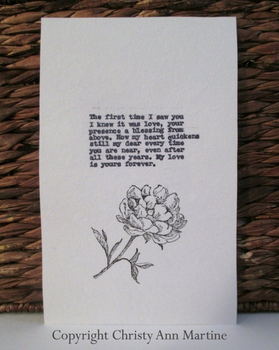 Romantic Gift for Wife Love Quote Poem Typed Onto Cotton Paper with Hand Stamped Flower Design