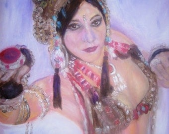 """Rachel Brice Tribal Belly Dancer. Blank Folded Greeting Card from my original Oil Painting. 8""""x6"""""""