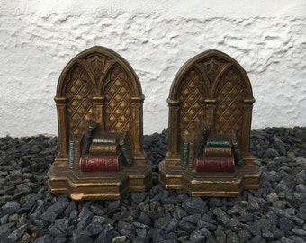 Vintage SYROCO WOOD Library Window Bookends