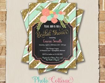 Bridal Shower Invitation, Glitter Gold Invitation, Flower Invitations, Bridal Shower Invites, Mint & Gold Invitation, BS201