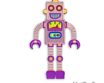 Kids Robot Embroidery Design Retro style Instant download - Machine Bot digital embroidery file