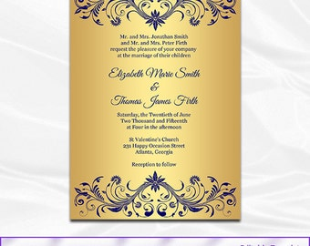 navy blue gold wedding invitation belly band metallic - Blue And Gold Wedding Invitations