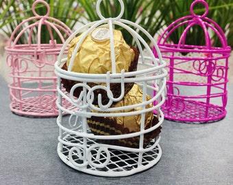Small Bird Cages for Wedding Centerpieces Decoration wedding favor box idea Pink Fuchsia White birdcage wedding candle holder bird cage