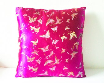 Hot Pink Metallic Chinese Silk Brocade Cushion Throw Pillow Cover Embroidered Butterflies 16x16 or 18x18 inches