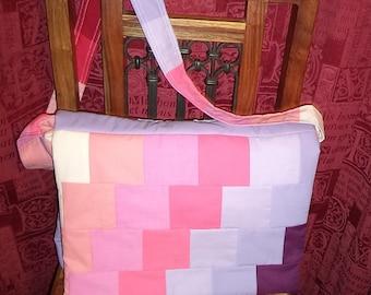 "Upcycled Padded Patchwork Rainbow Handmade 17.5 "" Laptop/Messenger Bag"
