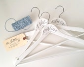 Personalized Hand Lettered CALLIGRAPHY BRIDESMAID HANGER - One (white, two lines)