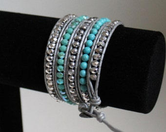 Leather 5-Wrap Bracelet, Silver and Turquoise, Adjustable