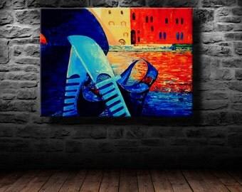 "oil painting, modern art, ""Venetian gondolas"", canvas art, paintings on canvas, wall art, painting, abstract painting, wall painting"