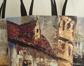 Beach tote; printed tote bags painting Montmartre in Paris, trendy canvas tote bags