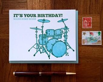 Make Some Noise Birthday Card - Folded Letterpress Note Card, Blank Inside