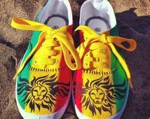 "Rasta sneakers unisex ""Winged Lion"""