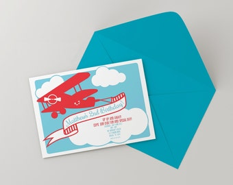 Letterpress Airplane Birthday Party Invitation-Customized