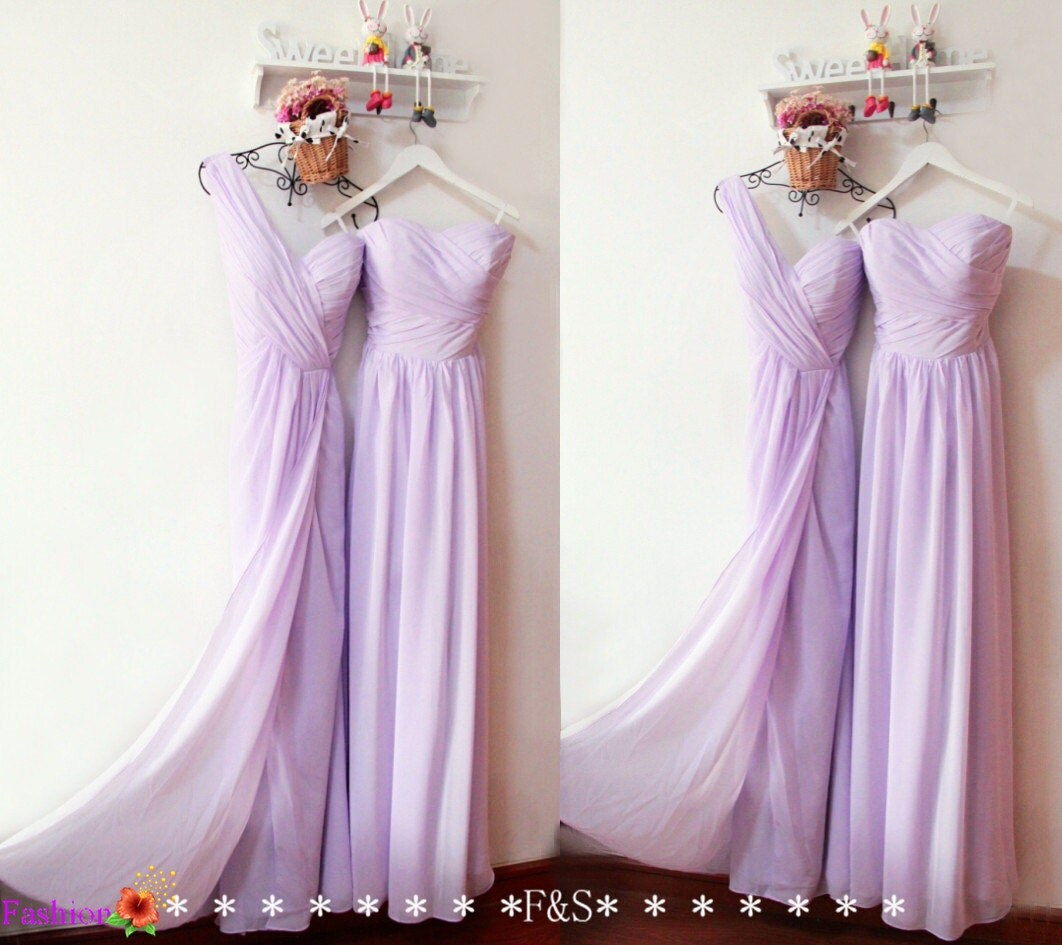 Lilac bridesmaid dressessplitside long prom by fashionstreets for Lilac dress for wedding