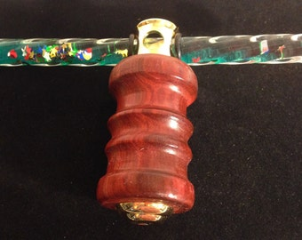 Kaleidoscope Wand Toy with Green Particles Handmade with Paduak Wood by Artist WFR49
