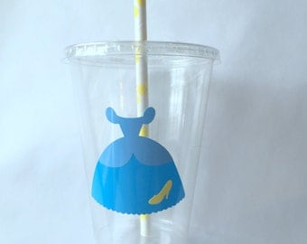 10 Cinderella Party Cups with Lids and Straws, Princess Party Cups, Cinderella Party Decor, Cinderella Birthday Party