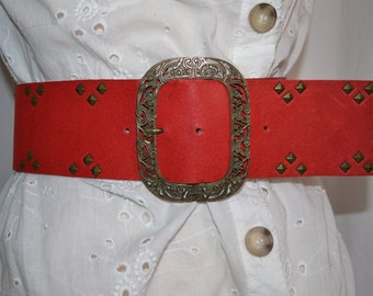 Ladies Red Leather Waist Belt