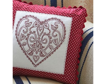 Redwork Heart Cushion Sewing Pattern Download (803890)