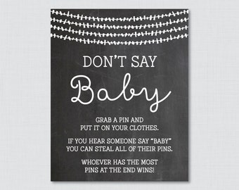 Donu0027t Say Baby Baby Shower Game Printable Chalkboard Donu0027t Say Baby Sign