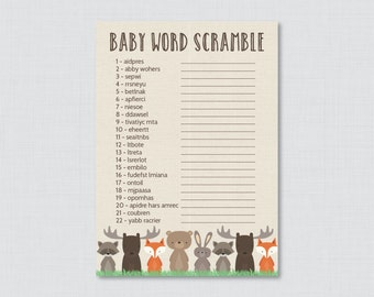 Woodland Baby Shower Word Scramble Game - Printable Instant Download - Woodland Word Scramble Baby Shower - 0010